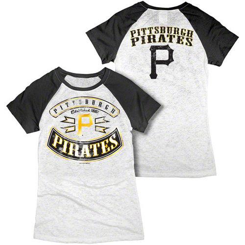 MLB - Pittsburgh Pirates White Women's Crewneck Burnout Raglan T-Shirt