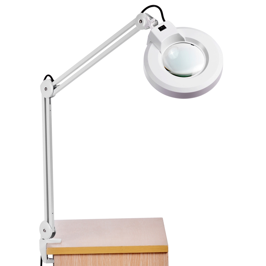 Adjustable Magnifier Lamp Light Magnifying Glass Desk Table Lamp,Clamp Mount Rolling by