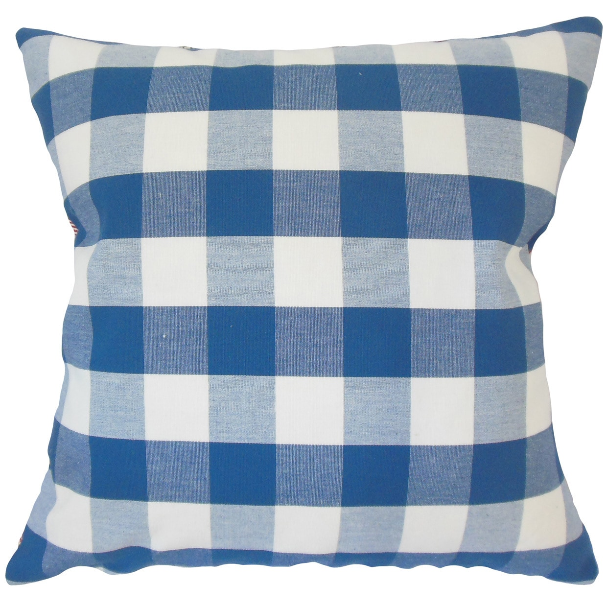 The Pillow Collection Yaritza Plaid 22-inch Down Feather Throw Pillow Blue