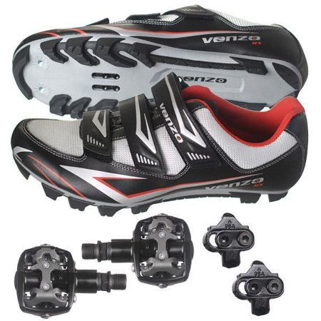 Venzo Mountain Bike Bicycle Cycling Shimano SPD Shoes + Pedals & Cleats (All Star Game Cleats)