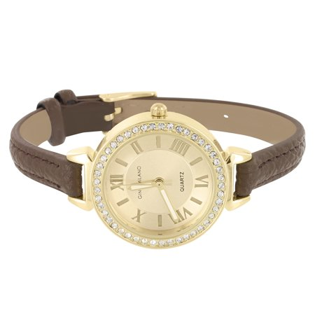 Gold Tone Womens Watch Roman Numeral Dial Brown Leather Band Water Resistant Classy