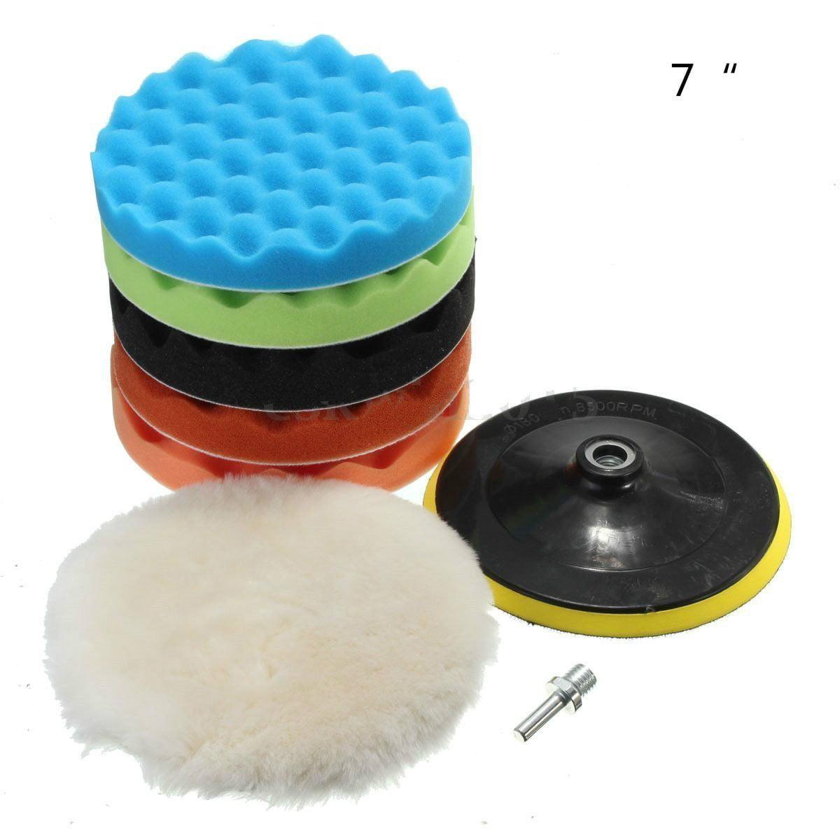 """Yosoo 7Pcs Sponge Polishing Waxing Buffing Pads Kit Set Compound Auto Car Polisher + M14 Drill Adapter Kit (7"""")"""