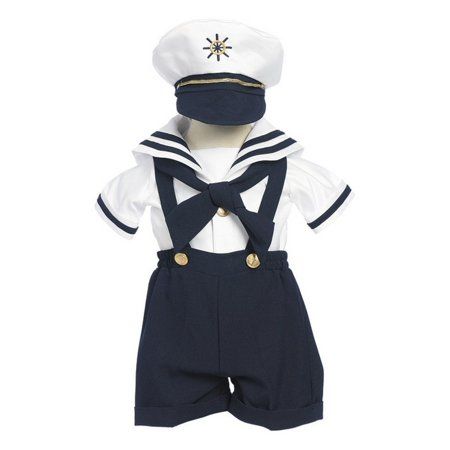 Baby Boys Navy Shorts White Shirt Sailor Hat Outfit 3-24M - Sailor Outfit