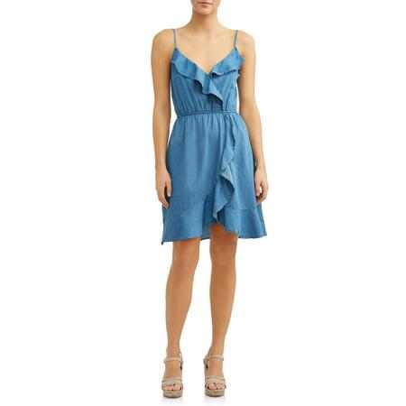 Women's Ruffle Front Denim Dress (Belle Dress For Sale)