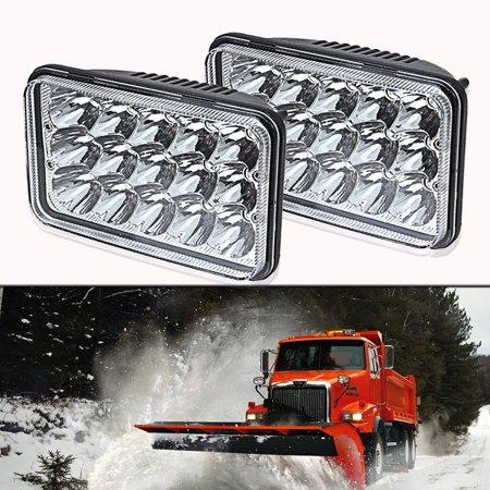 (2pcs) 4x6 inch LED Headlights Rectangular Replace HID HALOGEN Bulb H4651 H4652 H4656 H4666 H6545 for Peterbil Kenworth Freightinger Ford Probe Chevrolet Oldsmobile