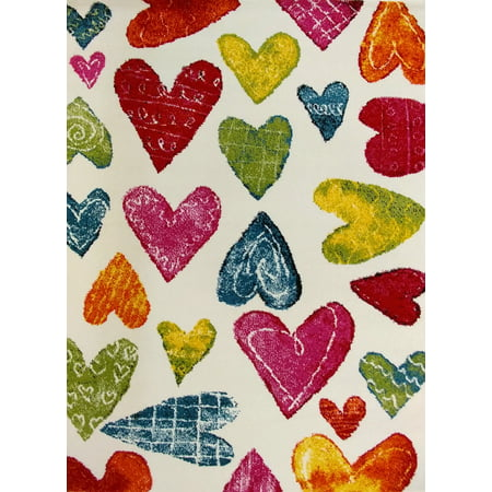 "KC CUBS Boy and Girl Bedroom Modern Decor Area Rug and Carpet Collection For Kids and Children (5' 3"" x 7' 3"", Colorful Hearts)"