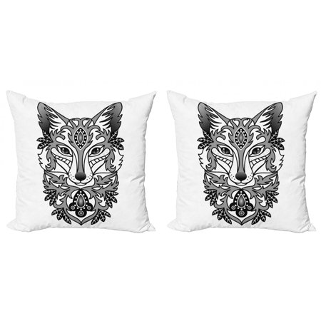 Fox Throw Pillow Cushion Cover Pack of 2, Ornamental Fox Face with Tree Leaves Oval Shapes Dots Floral Curves Art Print, Zippered Double-Side Digital Print, 4 Sizes, Grey Black White, by Ambesonne Smooth Oval Shape