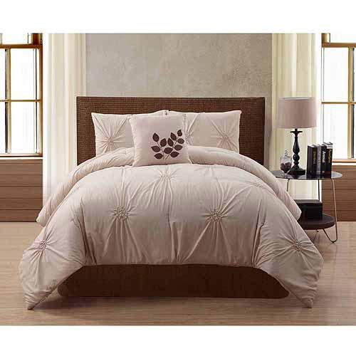 VCNY Home London Solid Textured 4-Piece Bedding Comforter Set, Queen