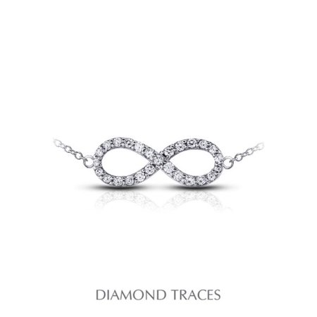 Diamond Traces 1.03 Carat Total Natural Diamonds 14K White Gold Prong Setting Infinity Fashion Pendant - image 1 of 1