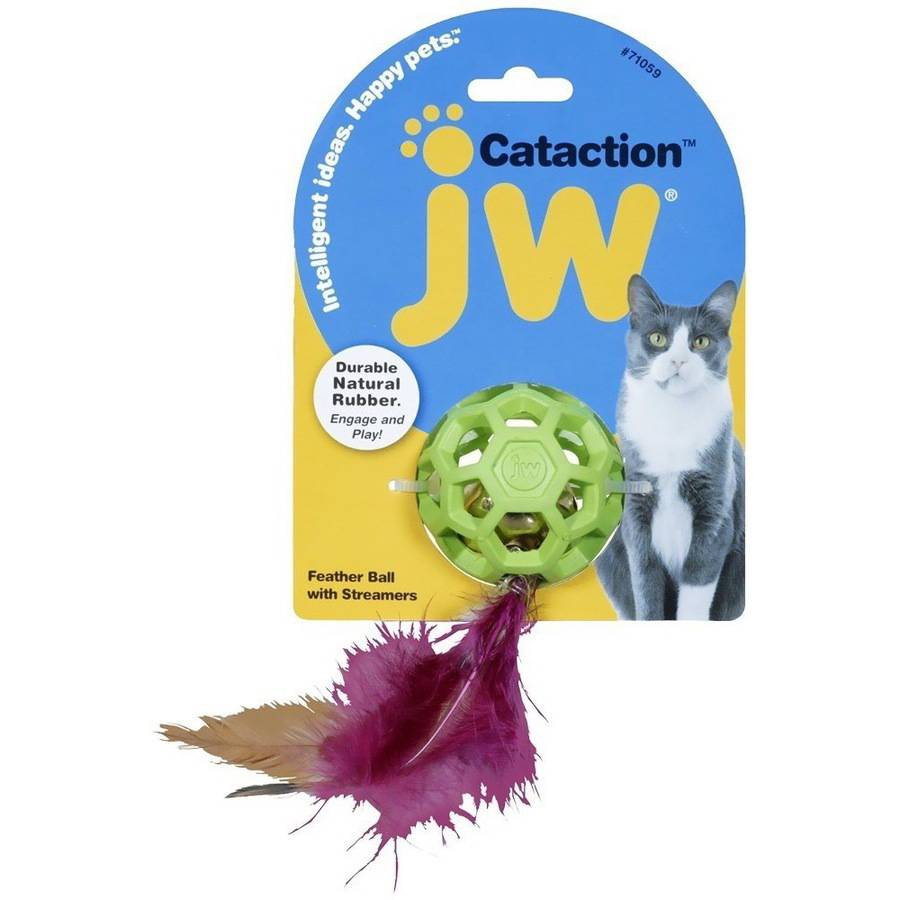 JW Pet Cataction Feather Ball with Bell Cat Toy by Generic