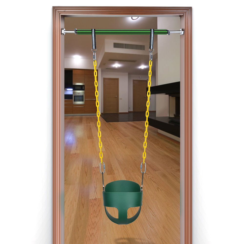Full Bucket Swing W/ fully Coated Chain Adjustable Doorway Chin Up Bar 23.6inch to 39.3inch