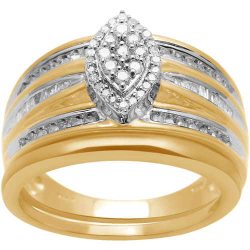 1/3 Carat T.W. Baguette and Round Diamond Composite 18kt Yellow Gold over Sterling Silver Bridal Set