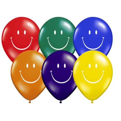 "5"" Smiley Balloon - Jewel Tone (100/bag)"