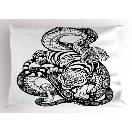 Tiger Pillow Sham Tattoo Style Scene of Two Animals Fighting Long Snake with Sublime Large Cat Battle, Decorative Standard Queen Size Printed Pillowcase, 30 X 20 Inches, Black White, by Ambesonne - Tattoos Of Animals