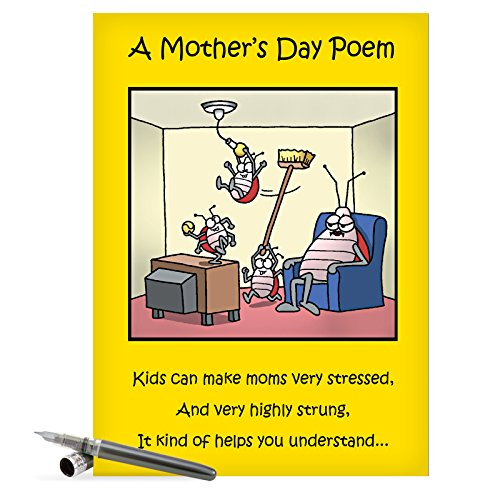 J0045 Jumbo Funny Mother's Day Card: Moms Day Poem, Extra Large Greeting Card With Envelope - NobleWorks
