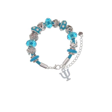 Silvertone Large Greek Letter - Psi - Hot Blue Summer Beach Bead Bracelet