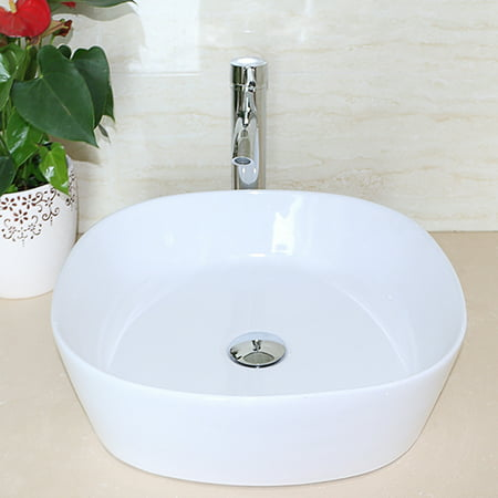White Bathroom Ceramic Vessel Sink Vanity Art Basin Faucet Combo Set+ Free Drain (White Bathroom Vessel Sink)