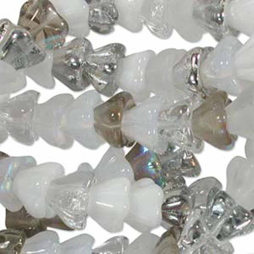 Apparition Mix 6x8mm Flower Cone 45 Bead Cap Czech Glass, Loose Beads,