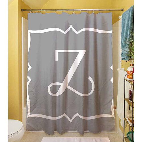MWW, Inc. Thumbprintz Silver Script 2 Monogram Shower Curtain