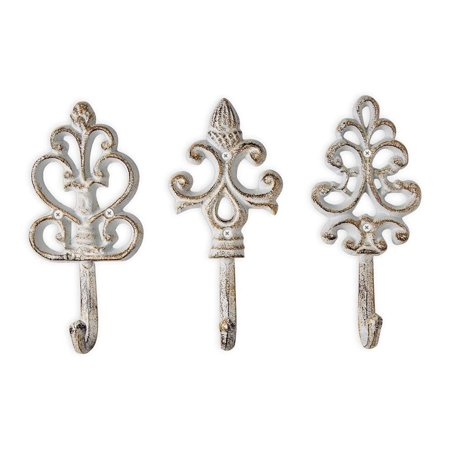 Antique Chic Cast Iron Decorative Wall Hooks - Rustic - Shabby French Country Charm - Large Decorative Hanging Hooks - Set of 3 - Screws and Anchors for Mounting (3 Antique Ivory Hooks)