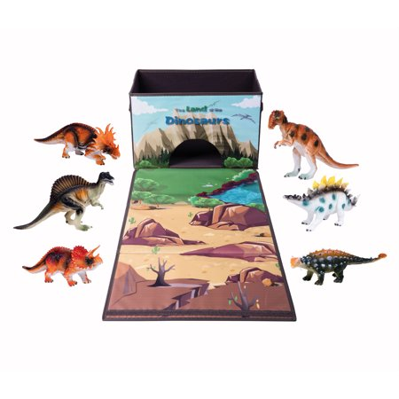 Dinosaur Toys Storage Box Organizer Containers, Play Mat with 7 Action Figures Playset, Birthday Christmas Gift Baskets for Kids, Large