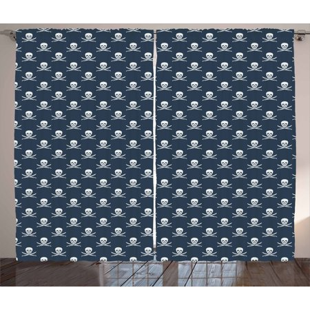 Pirates Curtains 2 Panels Set, Jolly Roger Pattern in Classic Nautical Colors Dangerous Halloween Character, Window Drapes for Living Room Bedroom, 108W X 90L Inches, Dark Blue White, by Ambesonne - Roger Williams Park Halloween