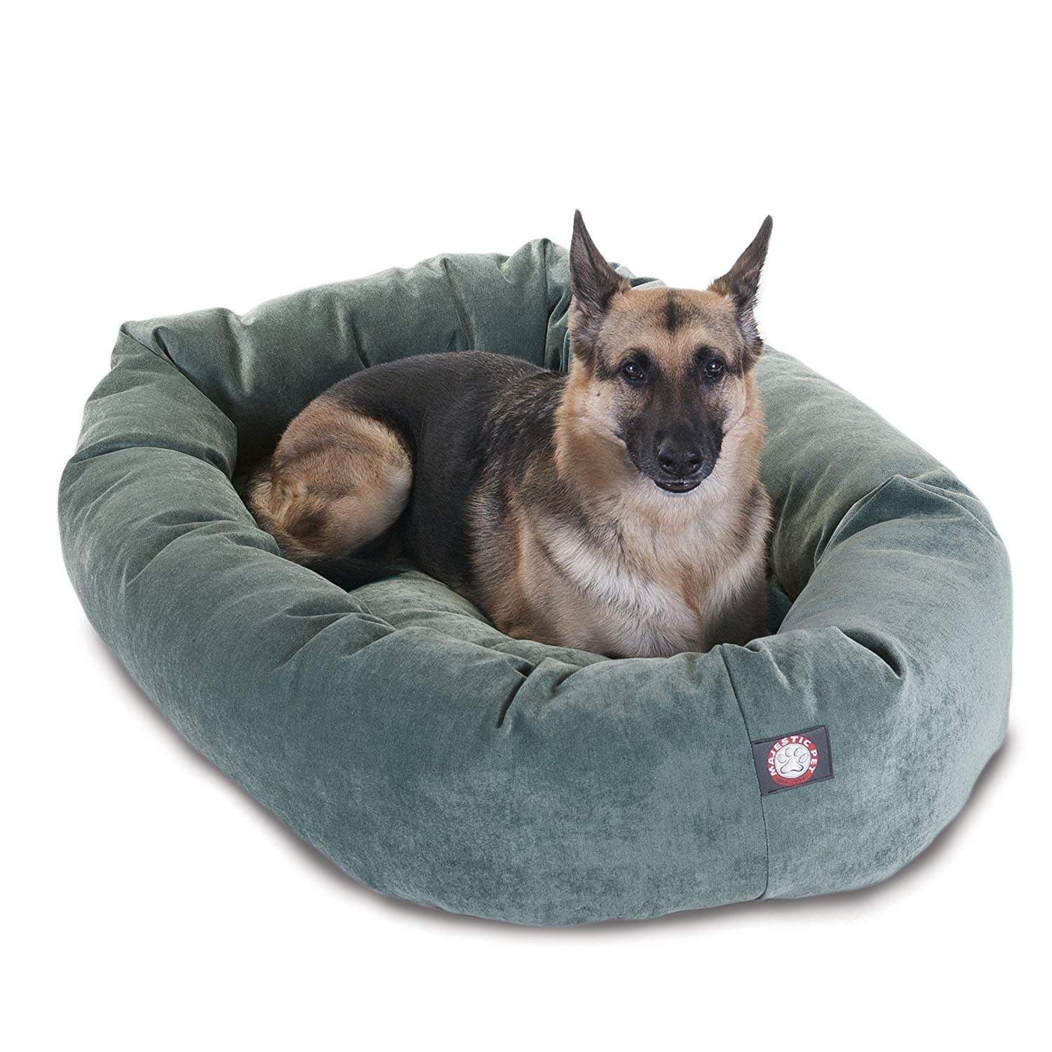 """Majestic Pet Products 52"""" Suede Bagel Dog Bed Removable Cover"""
