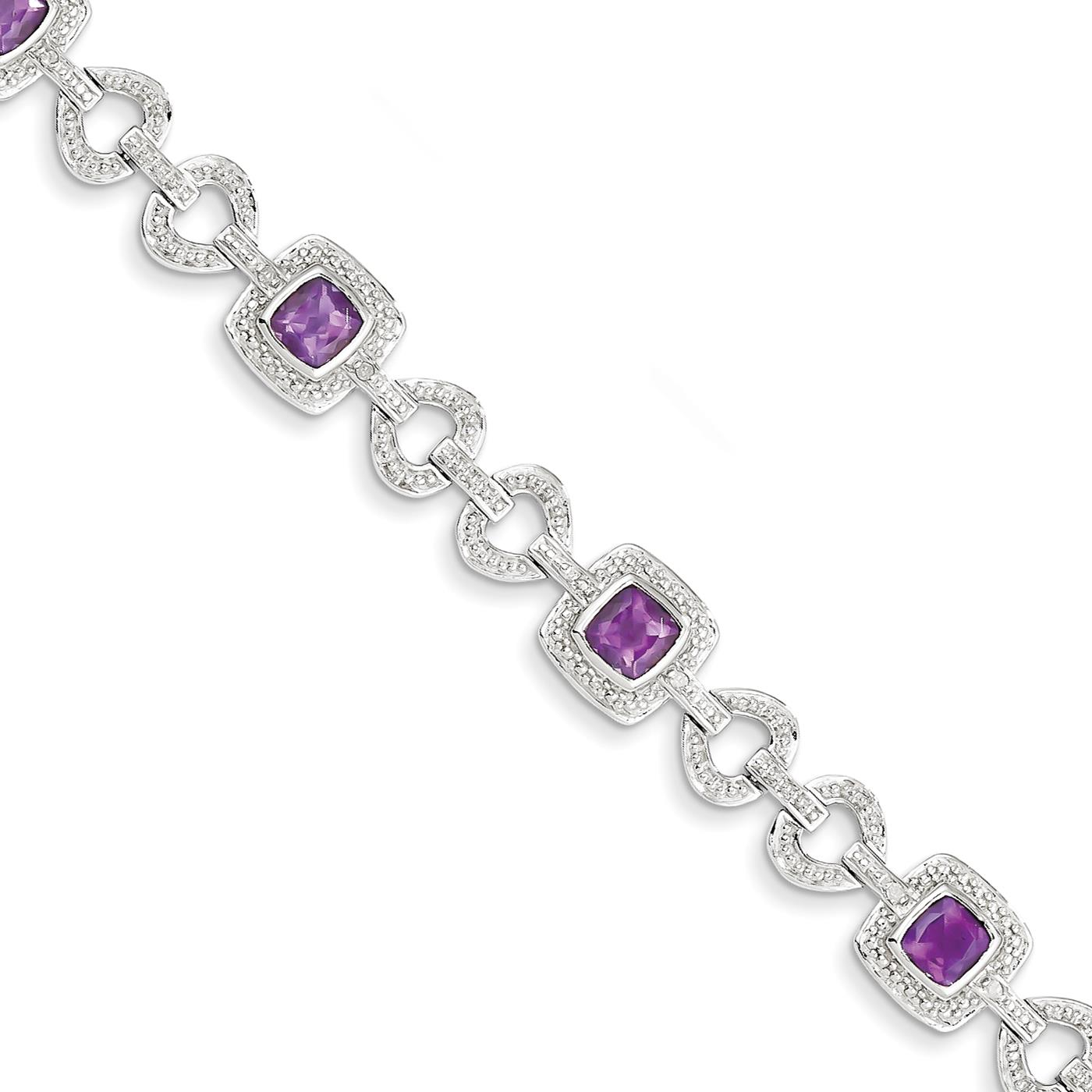 "Ladies 925 Sterling Silver 9mm Rhodium Plated Diamond & Amethyst Bracelet 7"" by Fusion Collections"