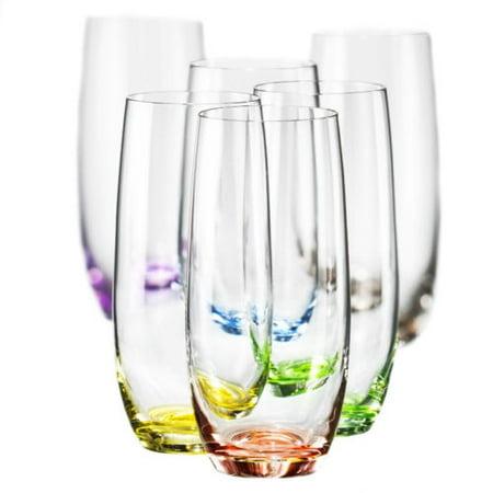 Bohemia Collection Rainbow Set of 6 Highball Multi Colored Crystal Glasses 12 Oz