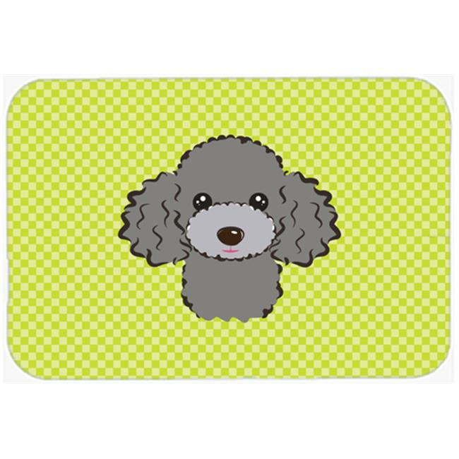 Checkerboard Lime Green Silver Gray Poodle Mouse Pad, Hot Pad Or Trivet, 7.75 x 9.25 In.