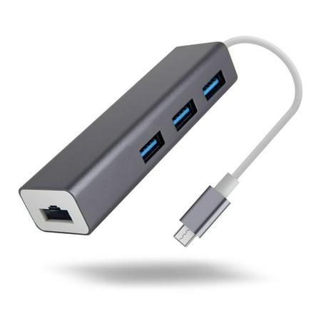 [Upgraded Version] Type-C USB 3.0 Hub 3-Port Hub with Ethernet Converter, Ultra-Mini Hub Splitter for Mac Pro/Mini, iPad Air 2, Galaxy S Series, Note Series, Mac, PC, USB Flash Drives, S10116 ()
