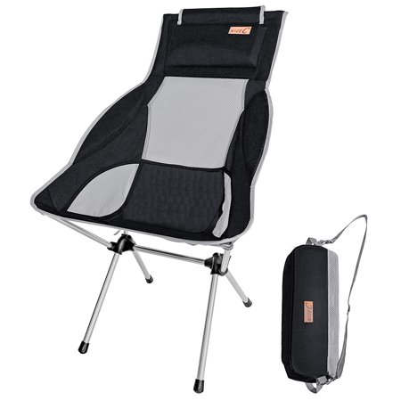 NiceC Ultralight High Back Folding Camping Chair, with Headrest, Outdoor, Backpacking Compact & Heavy Duty Outdoor, Camping, BBQ, Beach, Travel, Picnic, Festival with Carry Bag (1 Pack of Black) ()