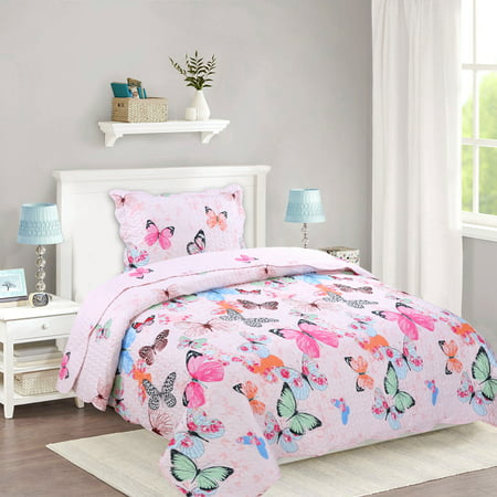 Butterfly Kisses Quilt (MarCielo 2 Piece Kids Bedspread Quilts Set Throw Blanket for Teens Boys Girls Bed Printed Bedding Coverlet, Twin Size, A72 Butterfly (Twin) )