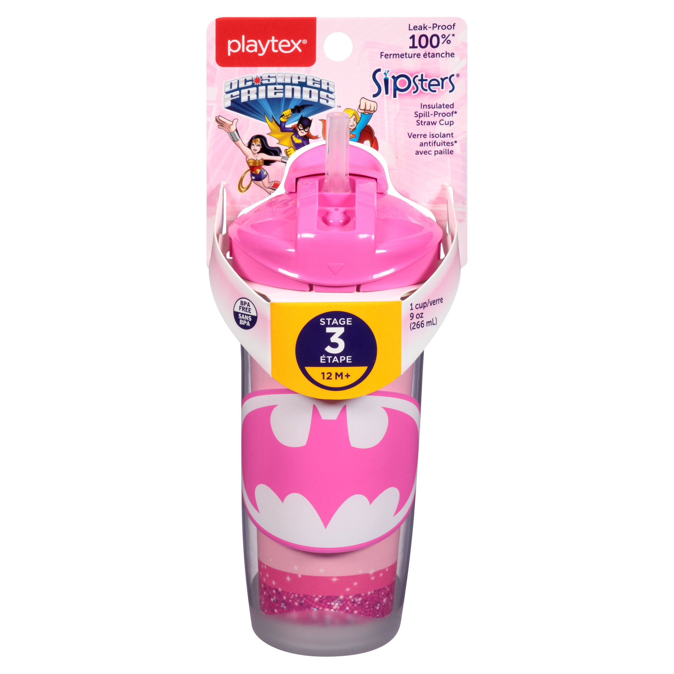 Playtex Sipsters DC Super Friends Stage 3 Insulated Straw Sippy Cup 9oz 1-Pack Assorted Patterns