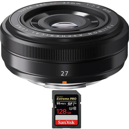 Fujifilm Fujinon XF 27mm (41mm) F2.8 Black X-Mount Lens + 128GB Memory