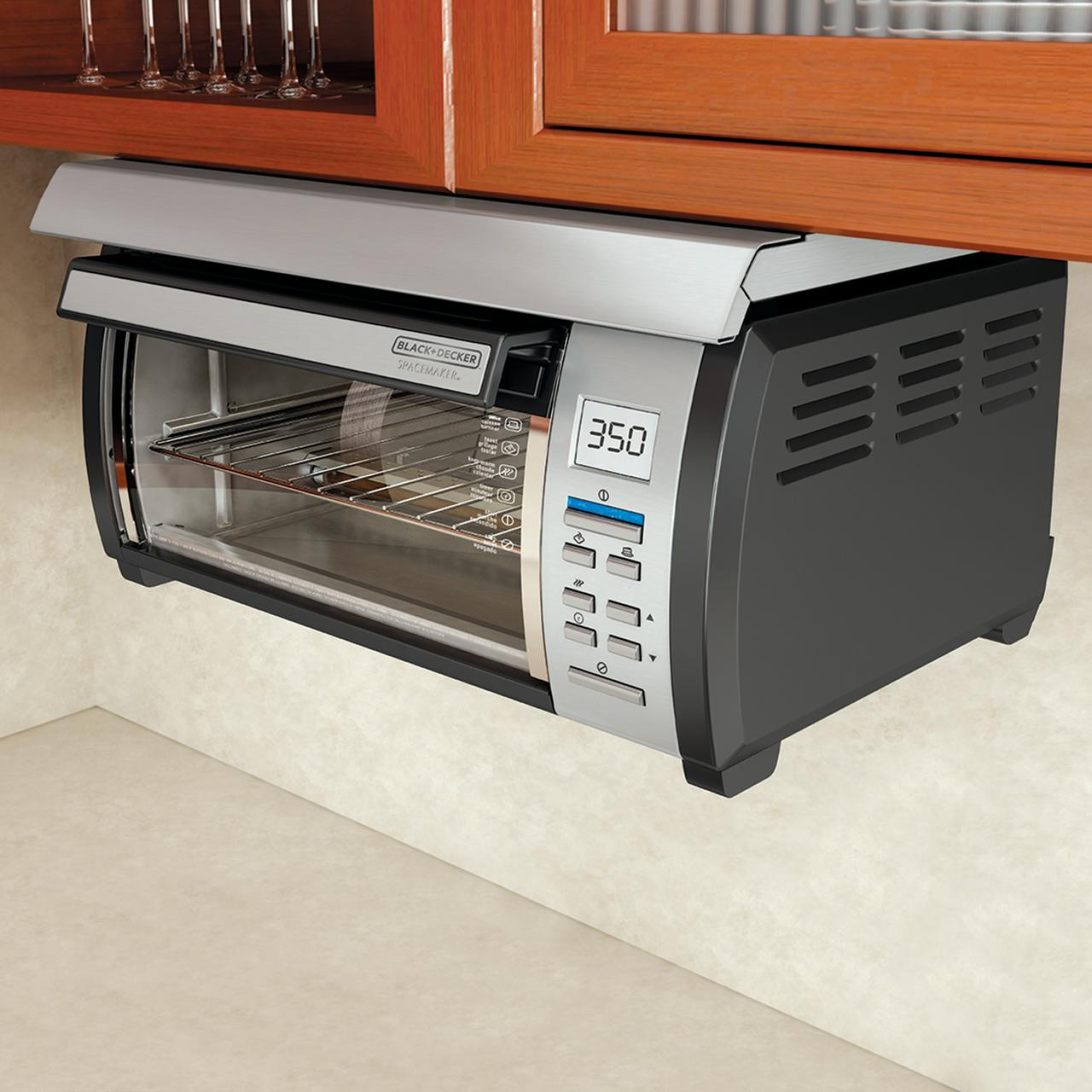 BLACK+DECKER SpaceMaker Under-Counter Toaster Oven, Black/Silver, TROS1000D