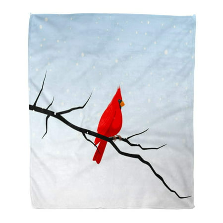Cardinal Snow - LADDKE Throw Blanket Warm Cozy Print Flannel Red Tree of Cardinal Perched on Branch in Snowy Winter Scene Bird Graphic Snow Comfortable Soft for Bed Sofa and Couch 58x80 Inches