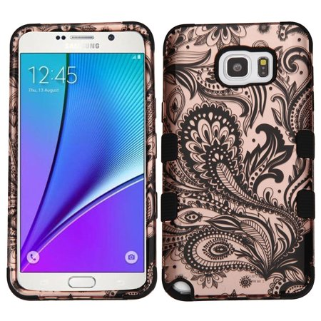 Samsung Galaxy Note 5 Case, by Insten Tuff Phoenix Flower Dual Layer Protection Hybrid Rubberized Hard Plastic/Silicone Case Cover For Samsung Galaxy Note 5 - Phoenix Flower (Gold)/Black
