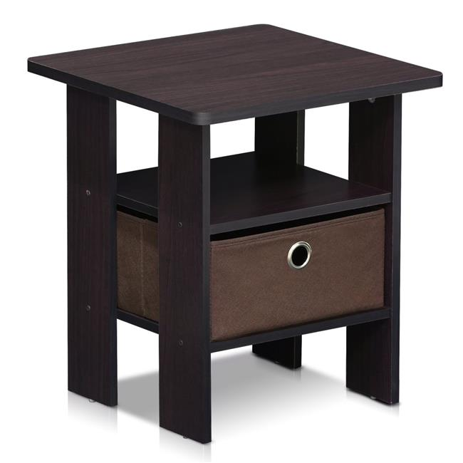 LRL End Table Bedroom Night Stand with Bin Drawer, Dark Walnut