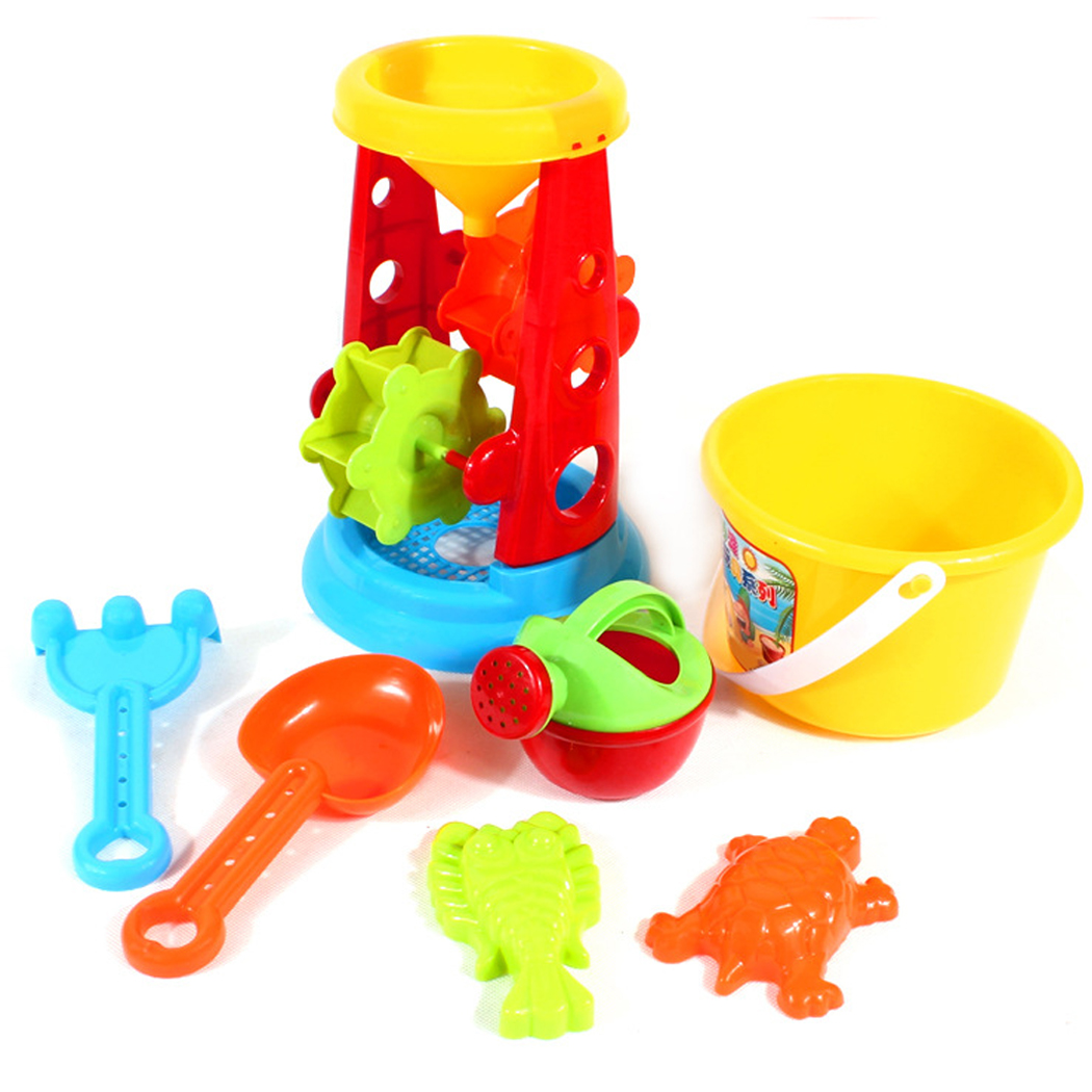 7PCS Beach Sand Toys, Outgeek Colorful Plastic Educational Summer Beach Toys Sand Play Set and Buckets for Kids Children... by Outgeek