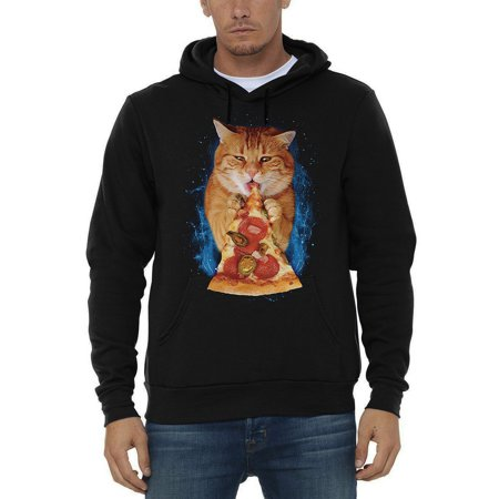 Men's Pizza Cat Black Pullover Hoodie Sweater 4X-Large Black](Pizza Sweater)
