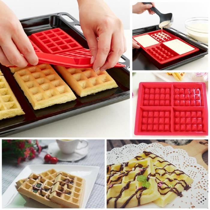 Jeobest 1PC Silicone Waffles Mould - Silicone Waffles Muffins Mold Cake Chocolate Pan Bakeware Kitchen Baking Tools MZ(red)
