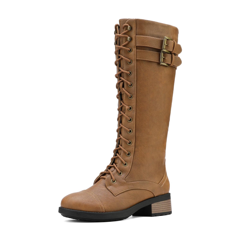 DREAM PAIRS Womens Knee High Combat Boots