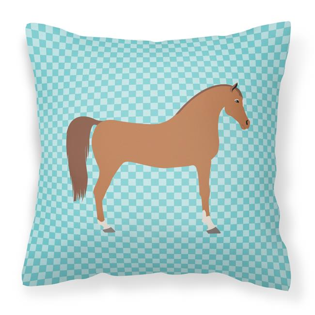 Carolines Treasures BB8085PW1414 Arabian Horse Blue Check Fabric Decorative Pillow, 14 x 14 in. - image 1 de 1