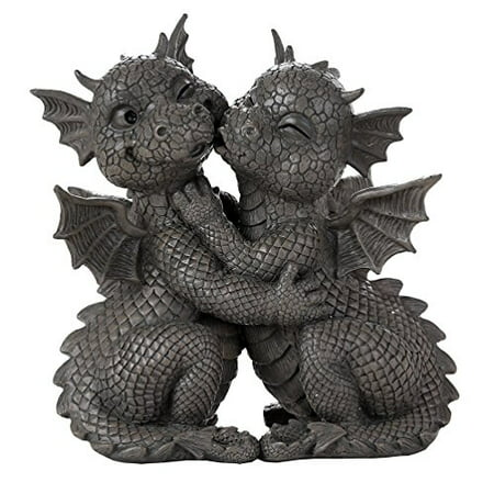 Pacific Giftware Garden Dragon Loving Couple Garden Display Decorative Accent Sculpture Stone Finish 10 Inch Tall
