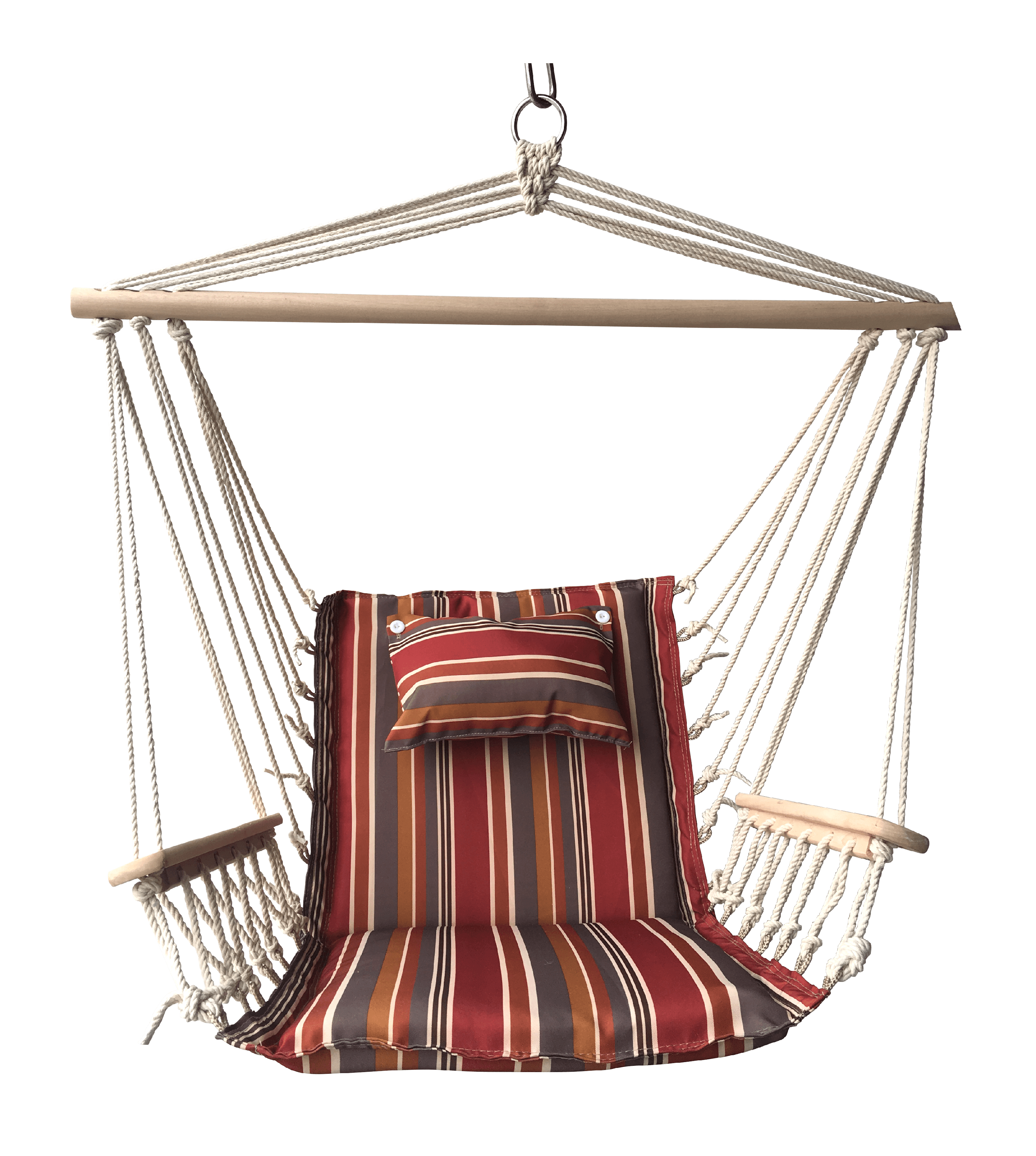 Spice Striped Hanging Hammock Swing Chair with Pillow Headrest and Arms