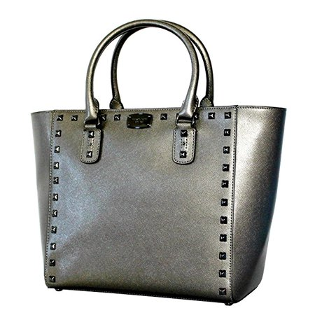 Michael Kors Women S Saffiano Black Metallic Stud Large Tote Handbag Nickel