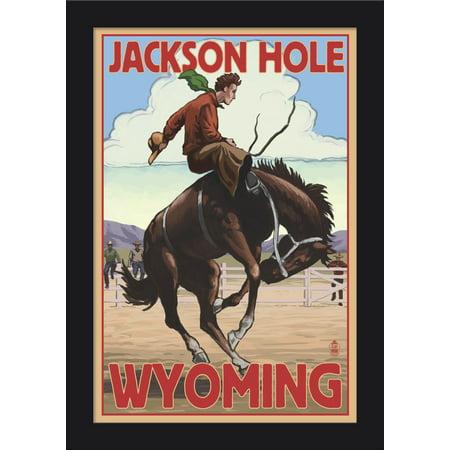 Jackson Hole  Wyoming   Bucking Bronco   Lantern Press Artwork  12X18 Giclee Art Print  Gallery Framed  Black Wood