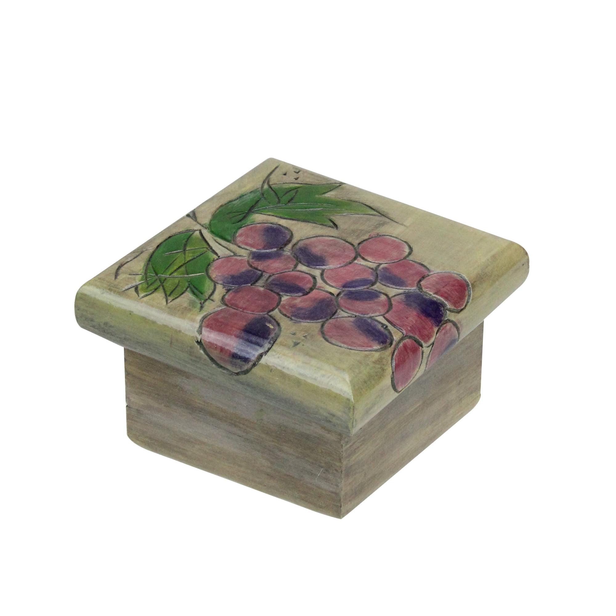 Kathy Lande Cluster Of Grapes Wooden Jewelry Keepsake Box