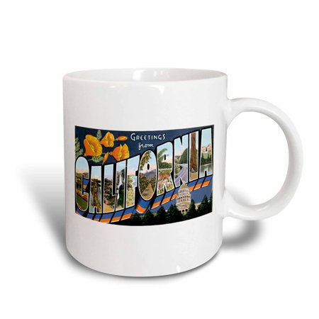 3dRose Greetings from California with Bold Letters Filled with Scenes of California, Ceramic Mug, 11-ounce (Mug California)